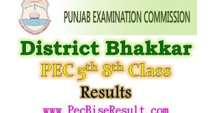District Bhakkar 5th 8th Class Result 2017