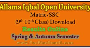 Allama Iqbal Open University Matric Result 2017