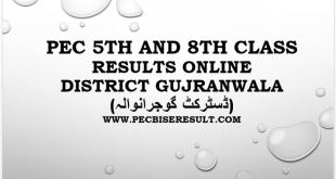 PEC 5th and 8th Class Result 2017 Gujranwala