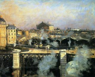 Norbert Goeneutte, Le Pont de l'Europe, la gare Saint-Lazare en travaux, 1886, anciennement Whitford Gallery, Londres