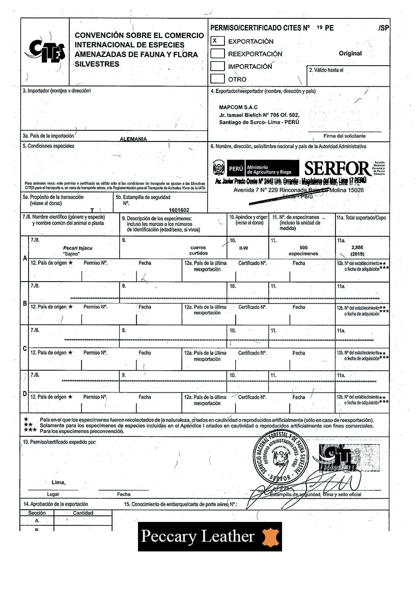 CITES certificate
