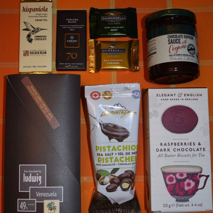 Items in the somebody needs chocolate goody bag