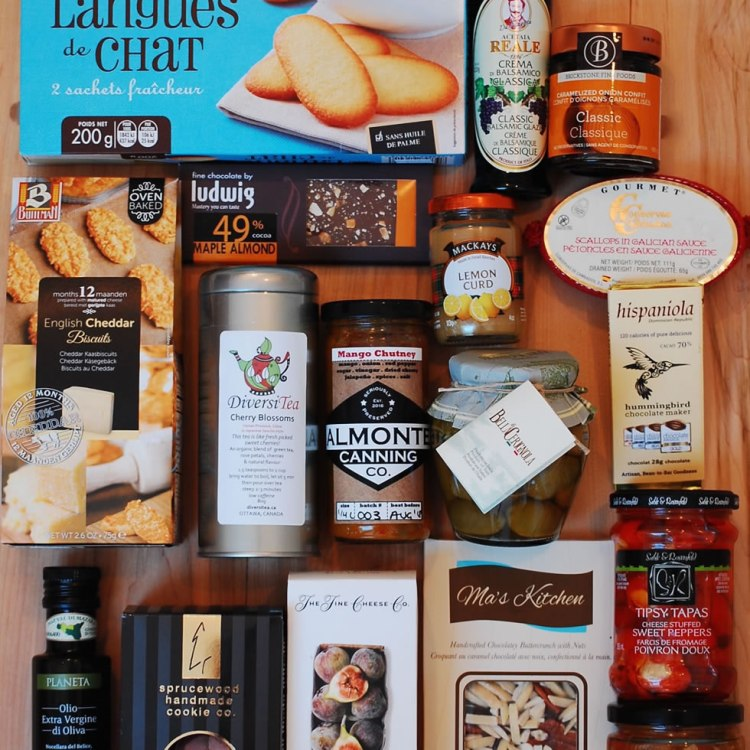 Gourmet food items that might go into your gift basket