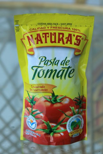 Canned tomato paste was around $1.35 a tin. We found this squeeze pouch for .95US. Less than what is in the tin but for recipes we only need a tablespoon or so.