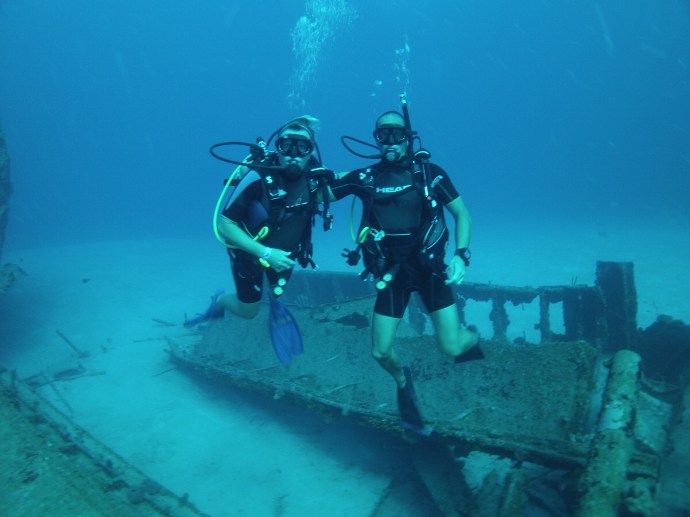 Shot of Karen and I by the wreck Aguila. It rests in 110ft of water.