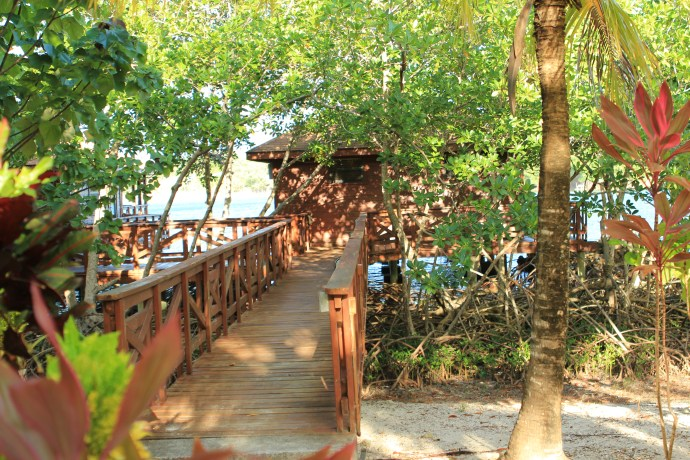 The walkway to our villa out over the water.
