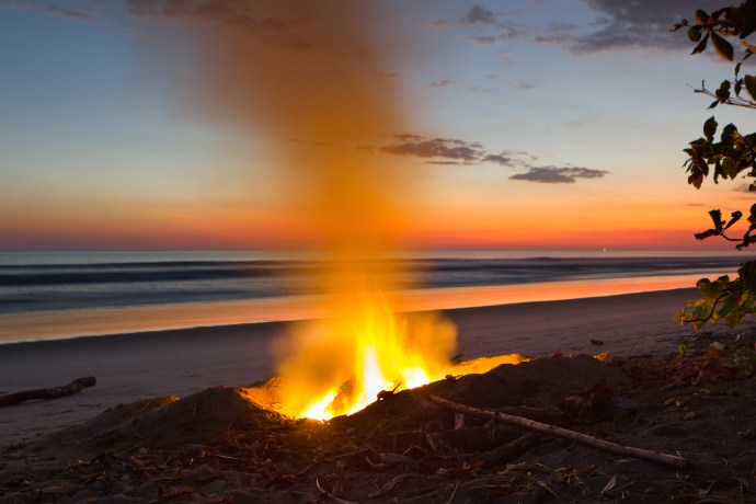 How can you beat this. Burning stuff while enjoying a beautiful sunset. Life is good.