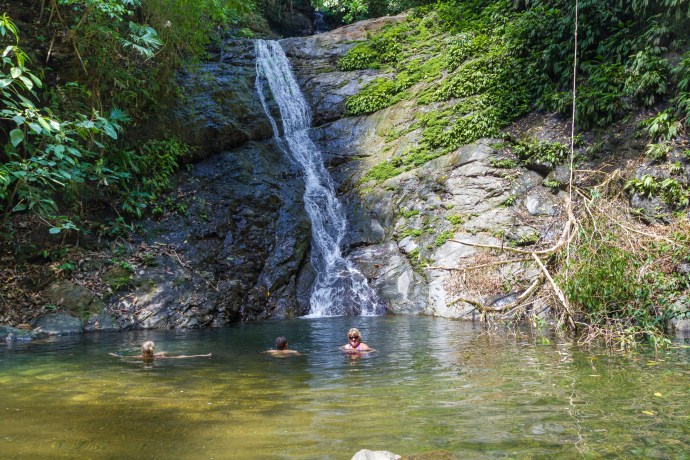 Wonderfully secluded waterfall about 200 metres off the track. Something was nibbling our toes in this pond.