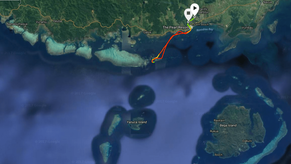 GPS route to dive site