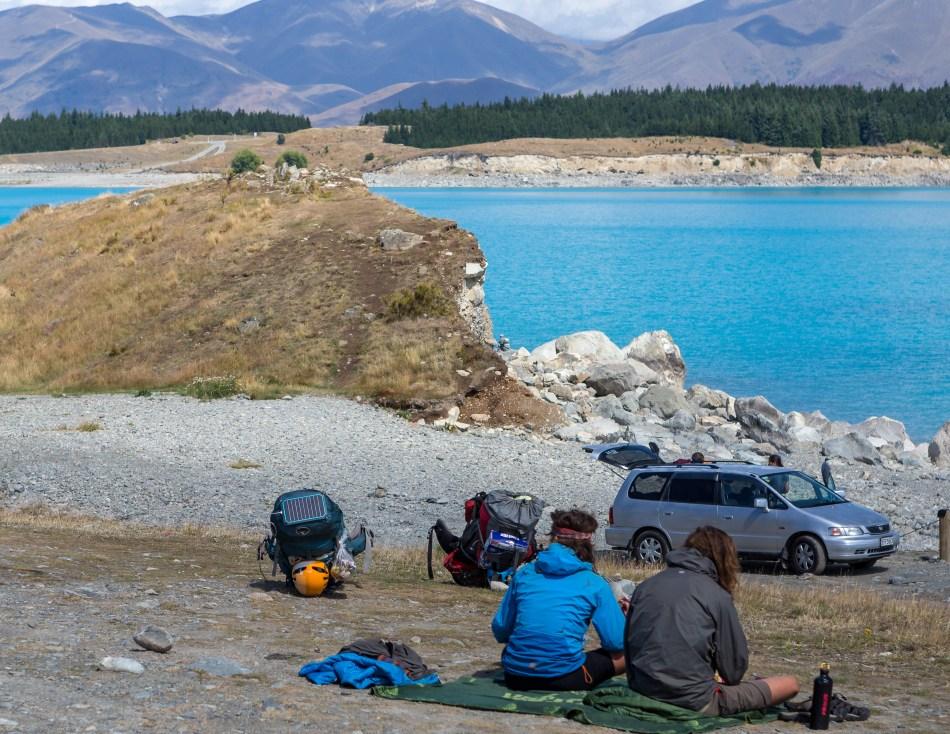 Solar Powered Backpackers by Lake Tekapo