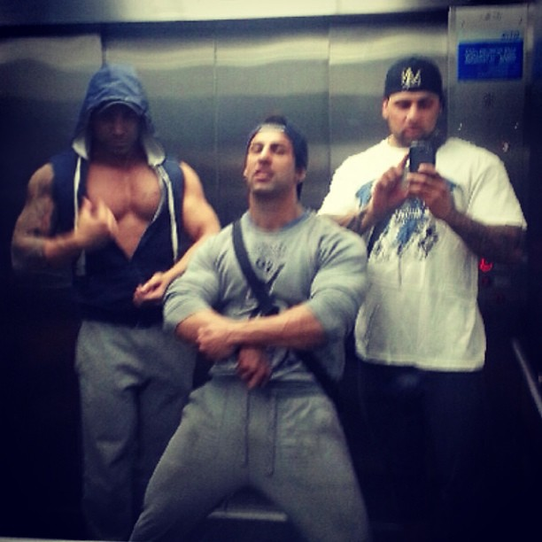 Chestbrah showing off his cleavage in an elevator with friends