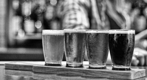 Beer flight B&W