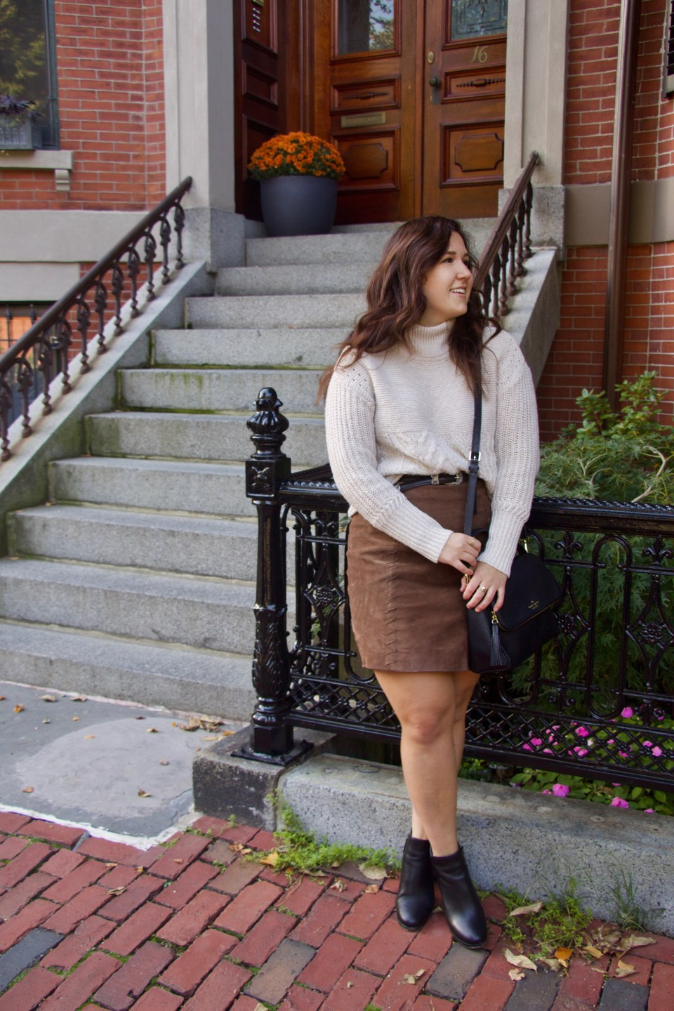 Thrifted Finds: Sweater and Suede Skirt