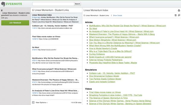 Evernote Web Interface