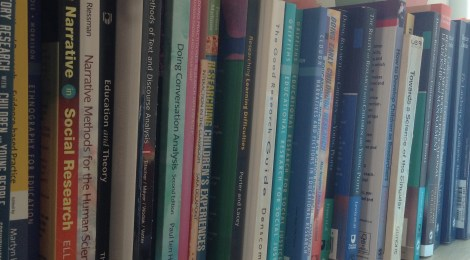 A shelf full of research methods textbooks