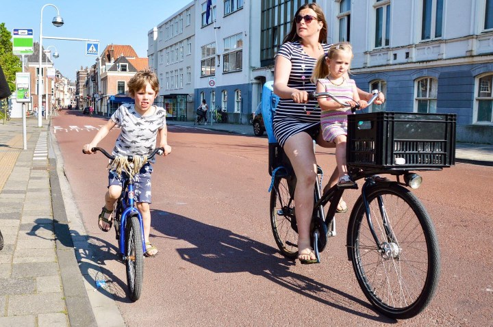 Dutch family riding together