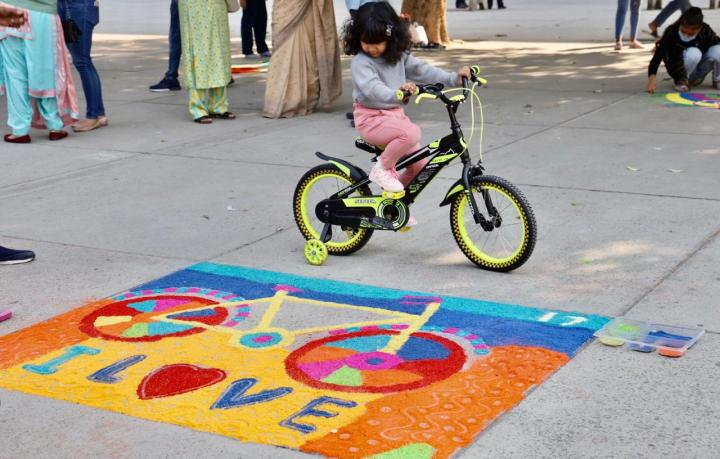 CYCLING GETS COLORFUL WITH RANGOLI ART