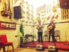 Soundchecking at Trowbridge Folk Club, tour 3