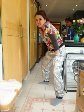 Chance showing off her waterproof trousers (which weren't waterproof)