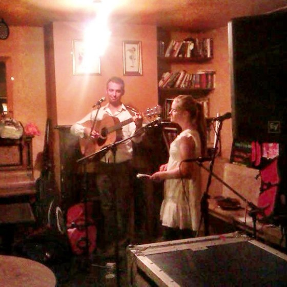 Robin and Katie performing in Bath, tour 2