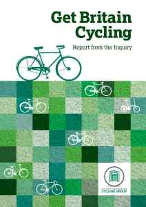 Click thumbnail for a webified version of the Get Britain Cycling report.