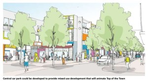 """The proposed new 5-storey car park would """"animate"""" the Top of Town, say the consultants."""