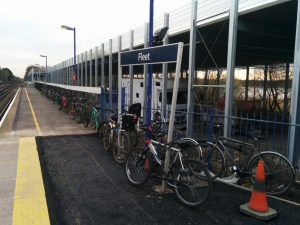 """Now, any fencing or sign posts are used as cycle parking. Determined """"customers"""" these are!"""