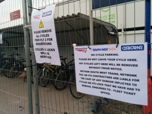 Just a day after the original sign went up, a fence surrounded most of the cycle parking on platform 2.