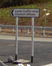 """The """"local traffic only"""" sign at the western end of Weyhill Road - the council offices are at the opposite end, near the town centre."""