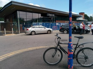 The current forecourt of Fleet train station is for taxis and buses only but clearly there isn't enough parking for bicycles.