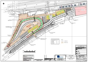 The preliminary plan from July 2014 for Fleet, Hampshire train station's forecourt (click to see larger image in PDF format).