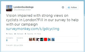GuideDogs Cycleyes - Twitter tweet for survey participation