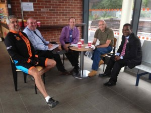 In October, CTC Fleet Cycling representatives met with 3 managers of South West Trains (photo © Fleet Cycling)