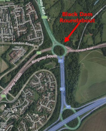 Satellite view of the Black Dam roundabout in Basingstoke.