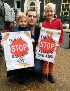 Children joined in the direct action to demand roads fit for humans.