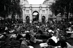Hundreds of people held a 'Die-In' around a symbolic coffin at Marble Arch as part of Stop The Killing / Stop Killing Cyclists' protest called 'The National Funeral for the Unknown Victim of Traffic Violence' (photo by Brendan Delaney)
