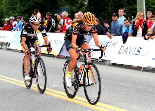 Denise Ramsden (Optum) leads Alison Jackson (Glotman Simpson Cycling) [P] Greg Descantes