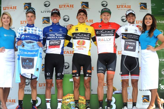 Jerseys (l-r) Costa (Best Young Rider), Eisenhart (Fan Favotite), Morton (Race Leader), Britton (Most Aggressive Rider), Reijnen (Sprinter) [P] Cor Vos