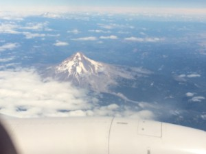Flying over one of Oregon's volcanic peaks