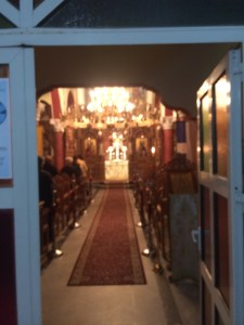 A Greek Orthodox service where icons are meant to pitch the mind to the eternal