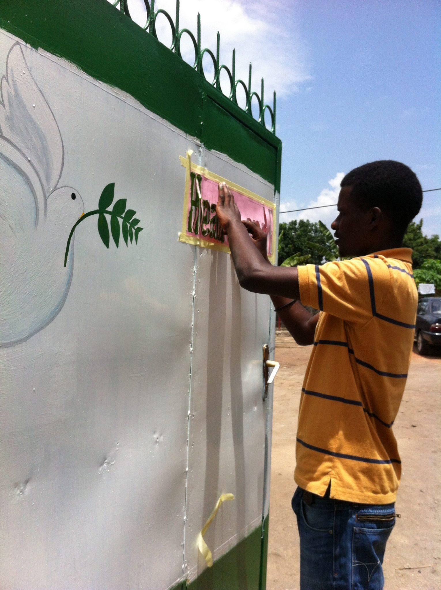 Alexis paints GROC gate