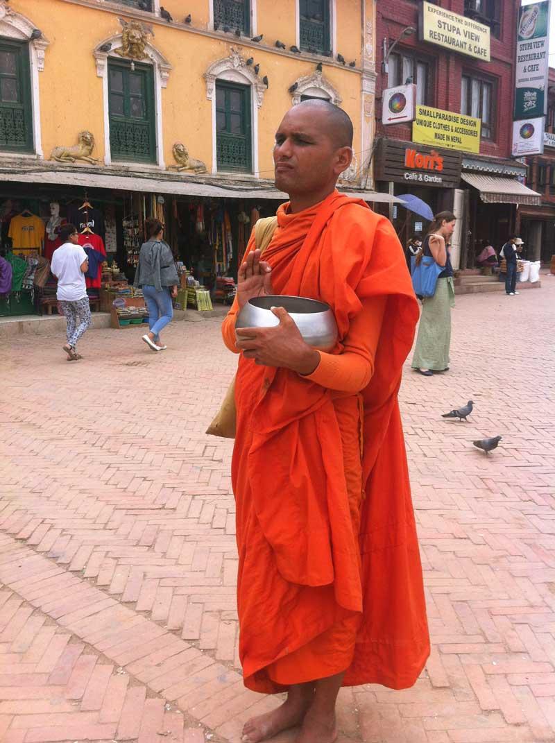 Begging at Stupa