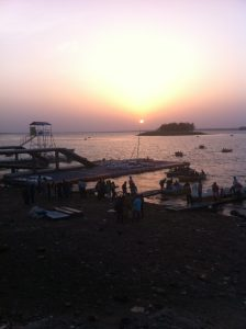 Sunset Bhopal mosque on island