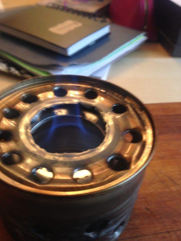 lit alcohol stove