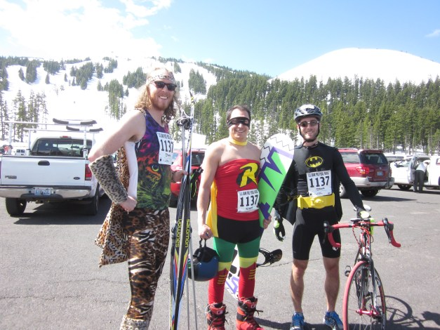 The first three legs - the alpine downhill ski leg, the cross-country ski leg, and the bike leg - all start at Mt. Bachelor, so John Glick (left), Jon Hillerich (middle), and I all made the trek to the top of the mountain together... and yes, our team dressed up as superheroes, some easier to categorize than others.