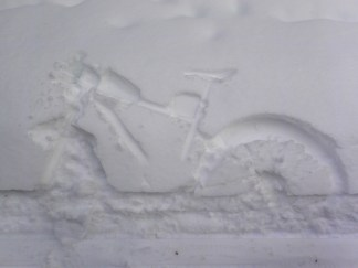 Bike snow angel.