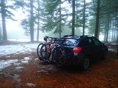 And then I drove to Hood River. Our original plan was to camp up at around 2,500 feet, but that plan quickly dissolved as we saw the amount of snow up at that level.