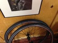 New winter tires (28 mm) on an old set of training wheels saved for winter riding
