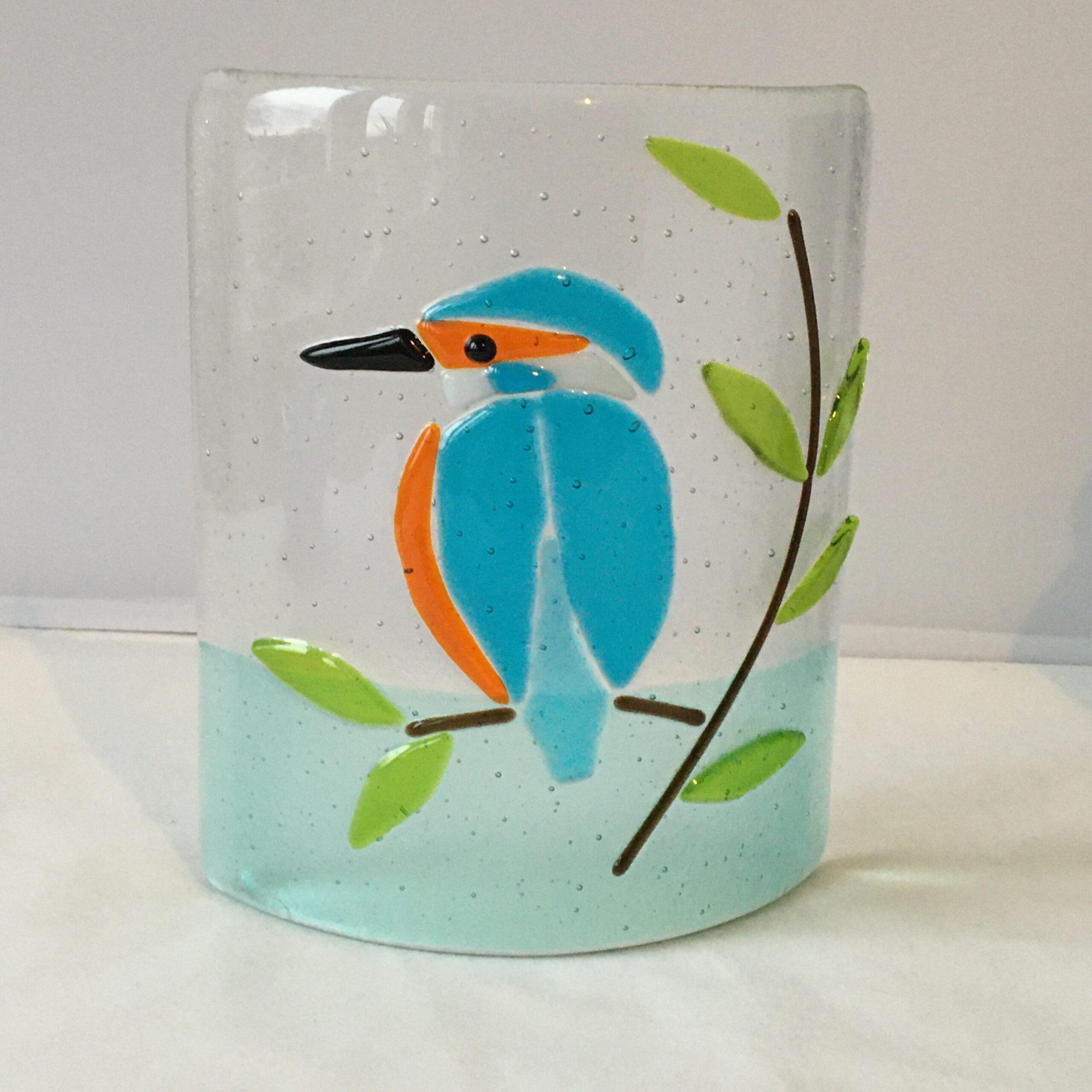 Garage Glass Studio fused glass kingfisher curve