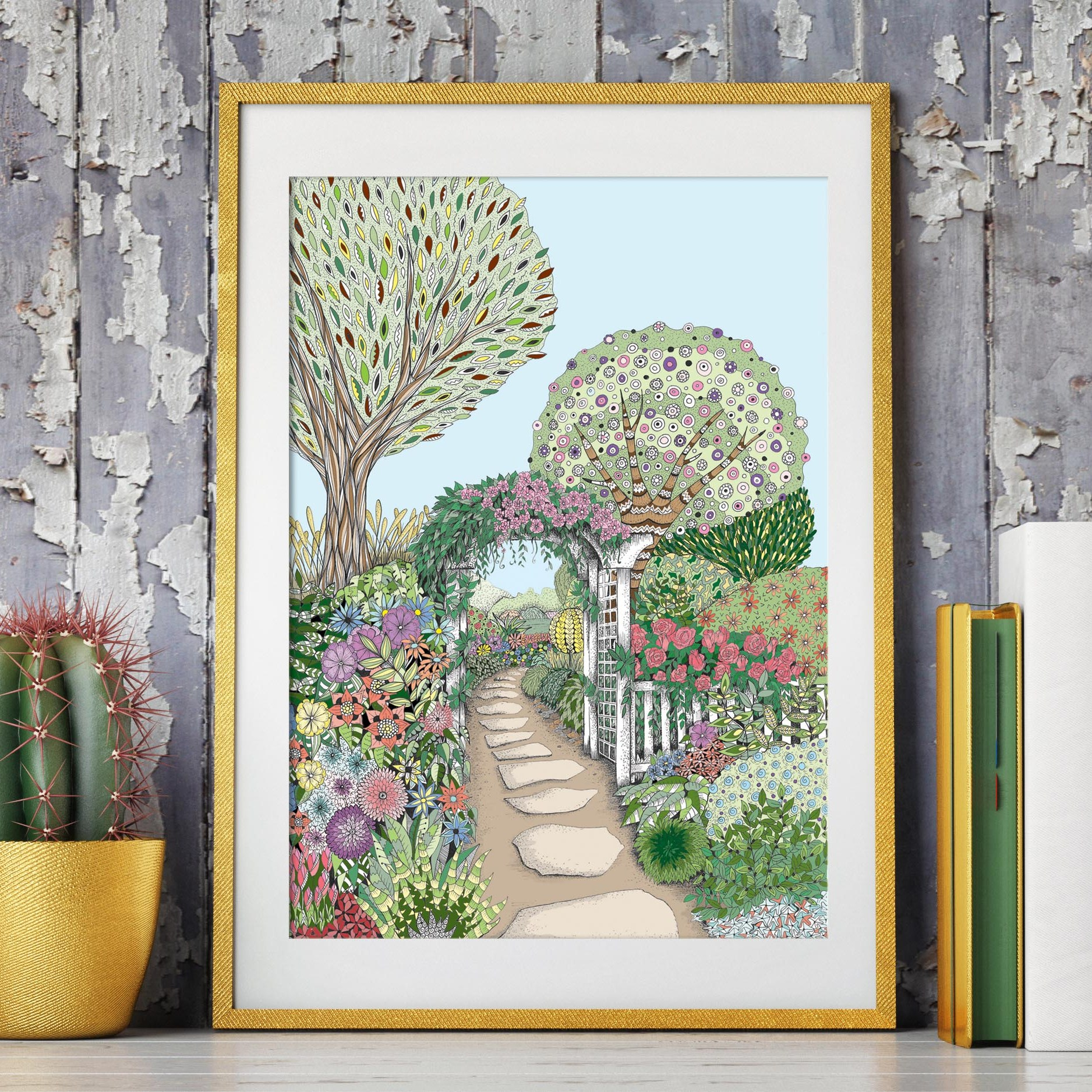 An A4 illustrations with a colourful garden scene. Stepping stones going through an archway.